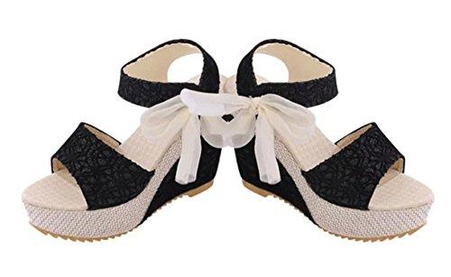 Talon Chaussures Été Forme Compensé Ouvert Mocassins Pente en Chaussures Noir Bout Compensées Tongs Bevalsa Dentelle Sandales Sandales Femme Mode Plate Sandales Sandales Hauts Talons AfwxY6Iaqn