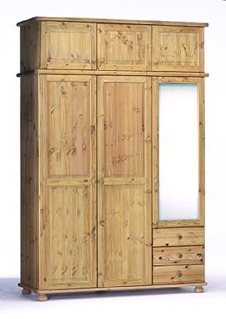 henrik kleiderschrank 3trg kiefer massiv gelaugt geolt mit aufsatz und spiegel