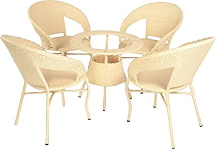 Virasat Garden Furniture/Balcony Furniture Set for Outdoor/Indoor Use 1 Table with 4 Chairs/Color-Cream