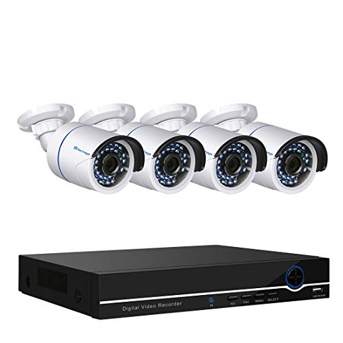 Techage Full HD 48V 1080P POE CCTV Security Camera System 4CH NVR 2.0mp IP Camera Outdoor/Indoor Waterproof Night Vision Security Surveillance Kit, Smartphone View
