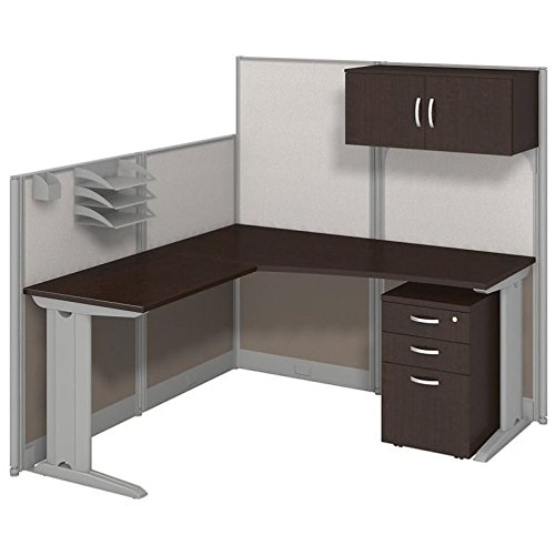 Workstation Metal Bush - Bush Business Furniture Office in an Hour 65W x 65D LWorkstation with Storage and Accessory Kit in Mocha Cherry