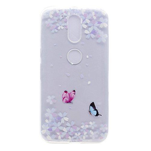 iPhone Moto G4 / G4 Plus Coque , Leiai Transparent Mode Couleur Papillon Ultra-mince Clear Silicone Doux TPU Housse Gel Etui Case Cover pour Apple iPhone Moto G4 / G4 Plus