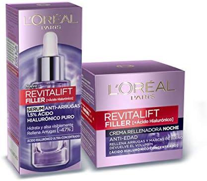 L'Oreal Paris Revitalift Filler Set de Sérum Facial Antiarrugas y Crema de Noche Revitalizante, con Ácido Hialurónico Puro, 30 ml y 50 ml