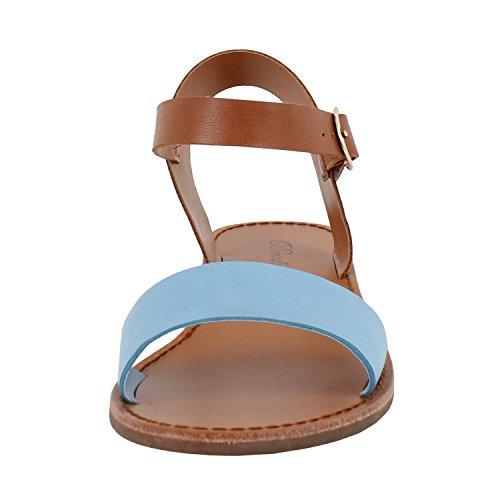 Correa De Tobillo Para Mujer Con Punta Abierta Y Correa De Una Sola Hebilla Planas Con Cordones (6.5 M, Pu Azul Claro)