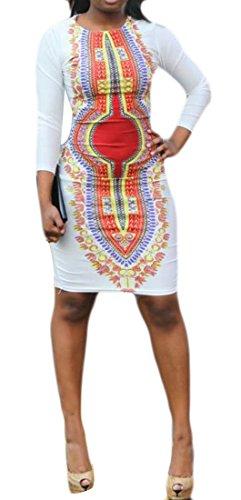 Stampa Elastico Womens Africa Vestito Cromoncent Bianco Midi Magro Dashiki Girocollo wxqP4IrO0q