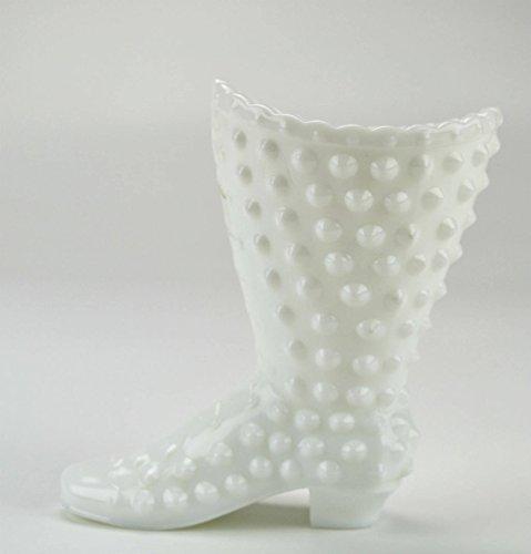 Retro Vintage Hobnail Fenton Glass VASE White Charming Serving Boot Late 1900s American LS