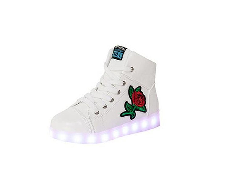 24XOmx55S99 Boys Girls 11 Colors LED Luminous Knit Sneakers Fashion USB Charging Light Shoes Halloween