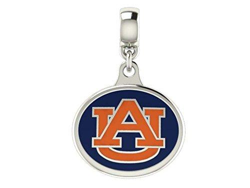 (Auburn Tigers Sterling Silver Enamel Drop Charm Fits European Style Beaded Charm)