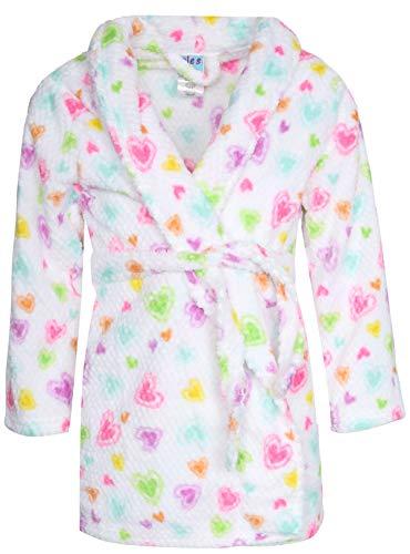 - Sleep On It Girl\'s Coral Fleece Printed Medium Length Robe (Textured White Heart, 10-12)'