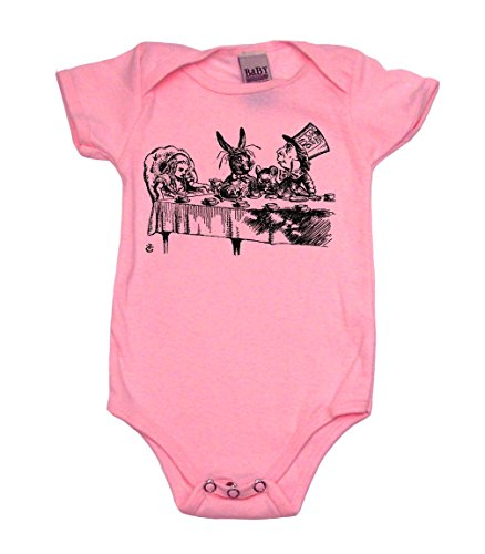 [Alice In Wonderland Teaparty Girl Baby Bodysuit, 12-18 mo, Pink] (Wonderland Outfit)