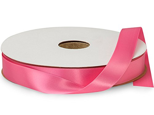 Hot Pink Double Faced Satin Ribbon 7/8''x100 yds 100% Polyester (2 Spools) - WRAPS-DFS5156 by Miller Supply Inc