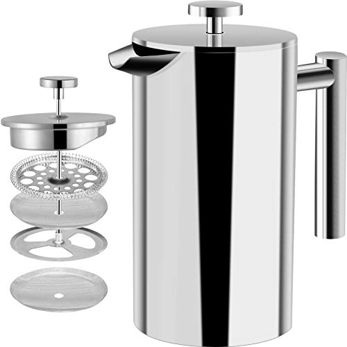 Utopia Kitchen Stainless Steel French Press – Double Wall 32oz Coffee Press – Stainless Steel Plunger Coffee & Tea Maker…