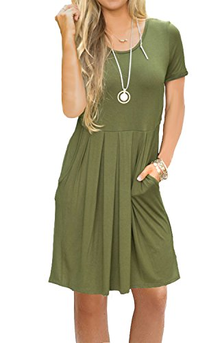 AUSELILY Women's Short Sleeve Pleated Loose Swing Casual Dress with Pockets Knee Length (S, Army Green) -