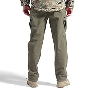 FREE SOLDIER Men Outdoor Sharkskin Fleece Lining Soft Shell Pants Winter Skiing Warm Trousers (Army green S)