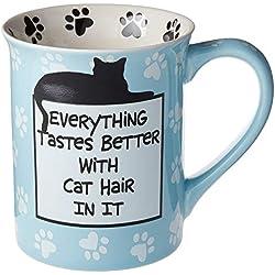 """Our Name is Mud Jarra de cerámica, """"Cat Hair"""" diseño de gato, Pelo de gato, Multicolor, 16 onzas, 1"""