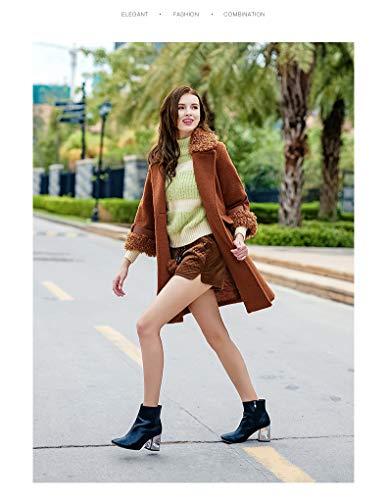 Chic Décontracté Qualité Elégante Femme Laine Haute Caramel Fashion Longues Manches Jeune Chaud Manteau Outerwear Colour Parka Hiver Revers De Épaissir Vintage Coat xvngFfq7H
