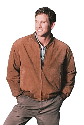 (REED MEN'S BASEBALL SUEDE LEATHER JACKET (IMPORTED) (Medium, CAMEL))
