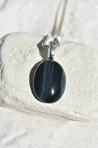 Blue Tiger's Eye Cabochon Stone Necklace - Choose Leather Cord or Sterling Silver Box Chain Blue Tiger Eye Pendant
