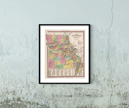 Map World Atlas, Missouri. 1841 Historic Antique Vintage Reprint Size: 20x24 Ready to ()