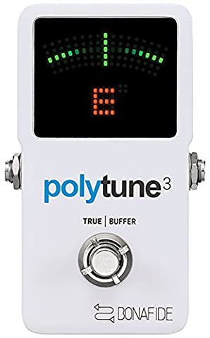 TC Electronic PolyTune 3 Polyphonic LED Guitar Tuner Pedal w/Buffer (Professional Guitar Tuner)