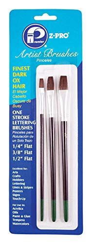 Premier Artist Brushes Dark Ox-Hair Lettering, 3 Piece Set, AR10106