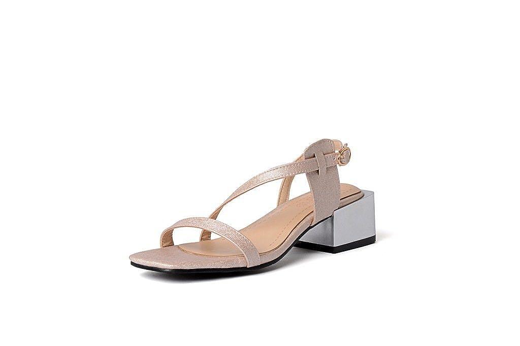 Unbekannt Damen Sandalen Sandalen Sandalen Dick mit Großen High Heel Open Toe Wild Aprikose 45 169327