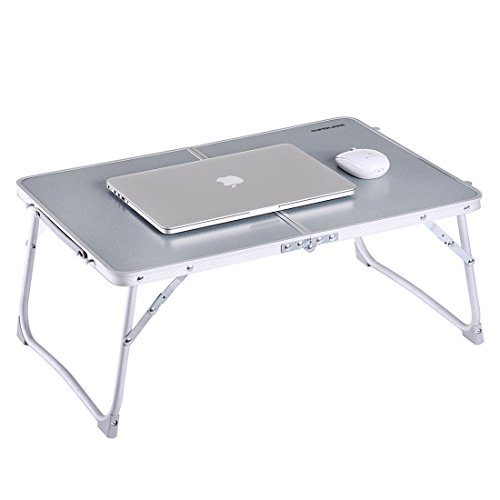 "Large Bed Tray, Superjare Laptop Table, Portable Outdoor Camping Table (Mini), Foldable Laptop Desk, Breakfast Tray with Legs, 23.2""x 16.1"" Silver"