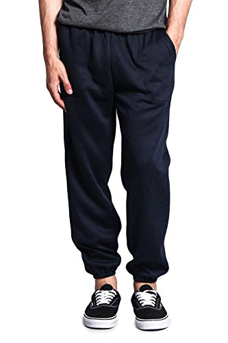 Victorious Men's Elastic Cuff Fleece Sweatpants - HILLSP - Navy - Large - GG1H
