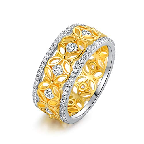 Barzel 18k Gold Plated Filigree Flower Lace Cubic Zirconia 2-Tone Statement Ring (Gold, 8)