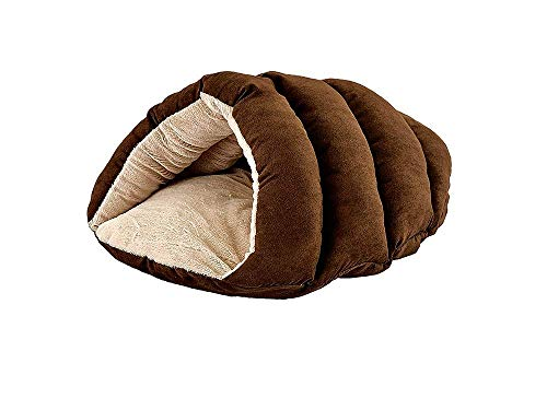 Ethical Pets Sleep Zone Faux Suede Cuddle Cave Dog Bed - Fabric Bottom - 22X17 Inches/Chocolate/Attractive, Durable, Comfortable, Washable