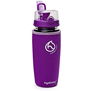Hydracy Fruit Infuser Water Bottle - 32 Oz Sport Bottle with Full Length Infusion Rod and Insulating Sleeve Combo Set + 25 Fruit Infused Water Recipes eBook Gift - Deep Purple