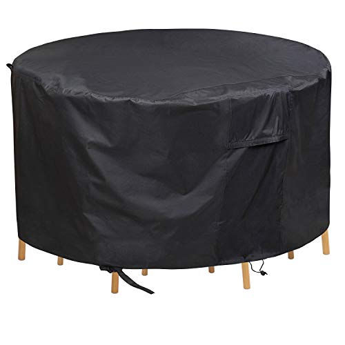 PATIOPTION Patio Furniture Set Covers, 600D Waterproof Outdoor Round Table and Chairs Set Heavy Duty Cover Tough Canvas UV Resistant Dustproof Anti-Fading Cover with Storage Bag - 62