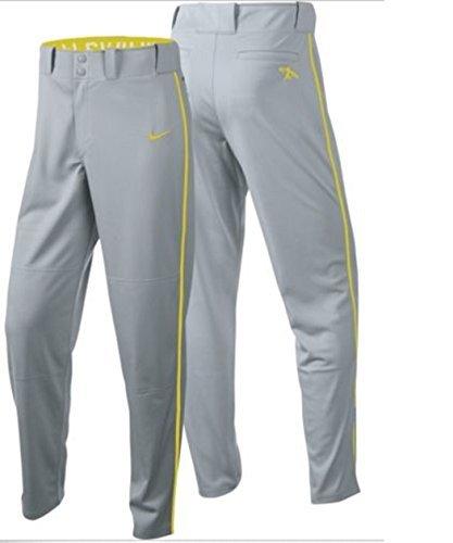 Nike Boys Swingman Dri-FIT Piped Baseball Pants (Grey/Yellow, Large)