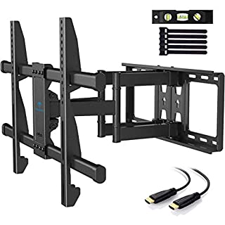 PERLESMITH TV Wall Mount Bracket Full Motion Dual Articulating Arm for Most 37-70 Inch LED, LCD, OLED, Flat Curved TVs up to 132lbs VESA 600×400 with Tilt, Swivel and Rotation - PSLFK1