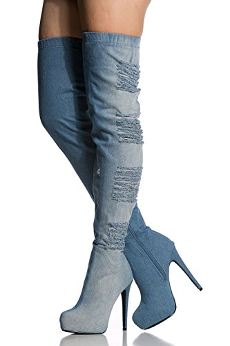 Amy Q Women's Denim Thigh High The Over The High Knee Boots Peep Toe High Heel Boots Size 4-15 US B06XP9445S Parent b8437f