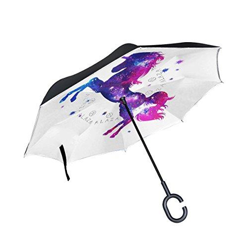 ALAZA doble capa puede Cosmic unicornio estrellas paraguas coches Reverse resistente al viento lluvia paraguas para coche al aire libre con asa en forma de ...