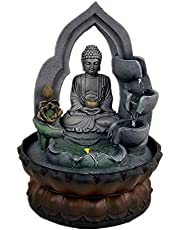 Buddha Tabletop Waterfall Fountain Fengshui Meditation Relaxing Indoor Decoration, Waterfall Kit with Circular Water Flow for Home, Office, Bedroom Decoration (Grey 1)