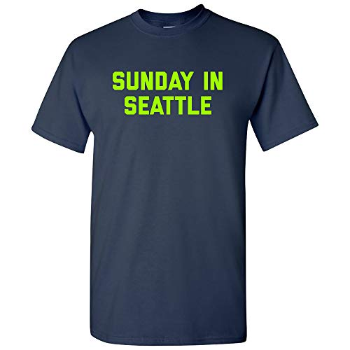 Sunday in Seattle - Football City Pride Sports Tailgating T Shirt - Large - Navy -