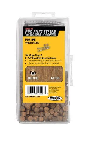 - Starborn Pro Plug System Wood Deck Kit with 100 Ipe Plugs, 2-1/2
