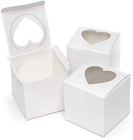 50 cajas blancas con ventana transparente, en PVC (policloruro de vinilo), forma de corazón, caja para dulces, regalo, confetti, 7,6 x 7,6 x 7,6 cm: Amazon.es: Hogar