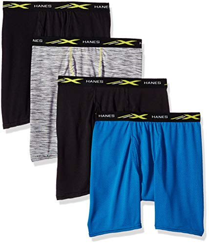 Hanes Men's X-Temp Lightweight Mesh Space Dye Boxer Brief 4-Pack, Assorted Black/Grey Stripe, Large