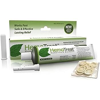 Hemorrhoid Treatment Cream - HemoTreat 1 Oz Tube with Internal Applicator - Fast Safe Effective Hemorrhoidal Symptom Relief, Ointment for internal and external hemorrhoids