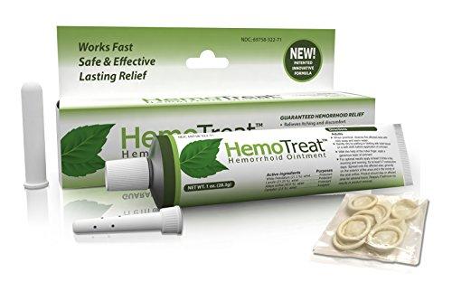 Hémorroïdes traitement crème - HemoTreat 1 Oz Tube avec applicateur interne - Fast Safe hémorroïdaires symptôme soulagement efficace, pommade pour les hémorroïdes internes et externes