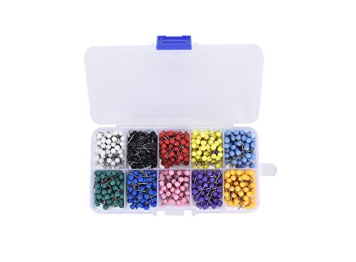 Push Pins Map Pins Multi-Colors Large Round Head Map Tacks Marking Pins for Corkboard Bulletin Board and Fabric Making 10 Assorted Colors (Each Color 100 PCS) ()