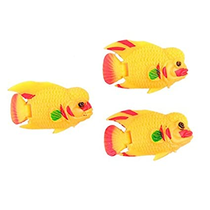 DealMux de 3 piezas de plástico flotante acuario Peces Decoración, Naranja / Rojo