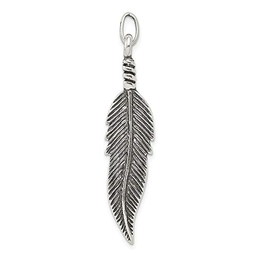 Jewelry Pendants & Charms Themed Charms Sterling Silver Antiqued Feather ()