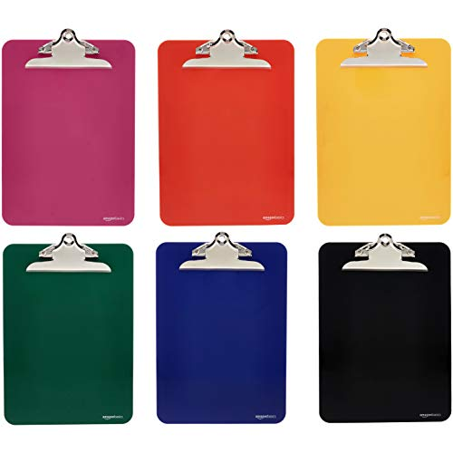 AmazonBasics Plastic Clipboards with Metal Clip, Assorted Colors, Pack of 6