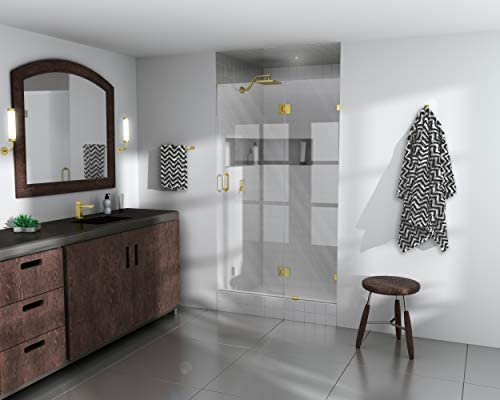 Glass Warehouse GW-GH-46-5-SB 78 x 46.5 Frameless Shower Door-Glass Hinge , Satin Brass