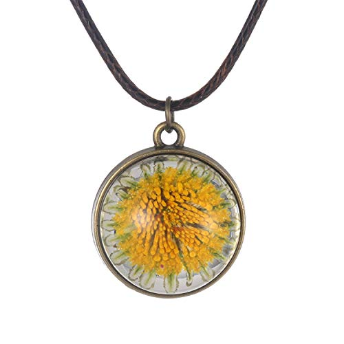 FM FM42 Natural Yellow Pressed Dried Flower Simulated Resin Round Pendant Necklace FN4235