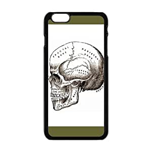HOT SALE, Anatomical Skull Pattern black plastic case For iphone 6 plus (5.5 inch) at Run horse store